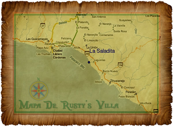 Rustys Surf Villa Vacation Rentals La Saladita Mexico Rustys - Check off map